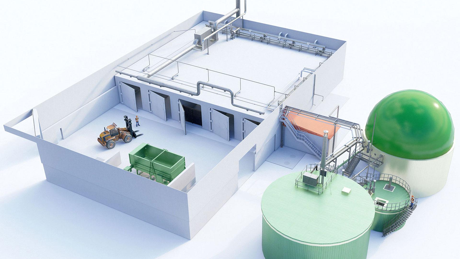 Biogasanlage, biogas plant SSAD
